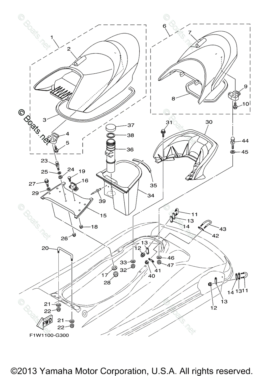 Yamaha Waverunner Parts 2008 OEM Parts Diagram for Seat