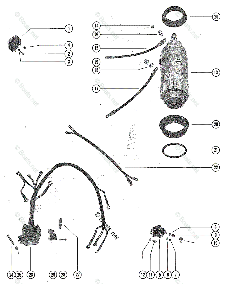 hight resolution of mercury mercury mariner outboard parts by hp liter 65hp oem parts diagram for starter motor starter solenoid and rectifier assembly boats net