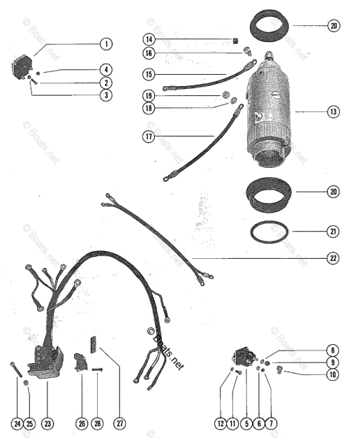 small resolution of mercury mercury mariner outboard parts by hp liter 65hp oem parts diagram for starter motor starter solenoid and rectifier assembly boats net