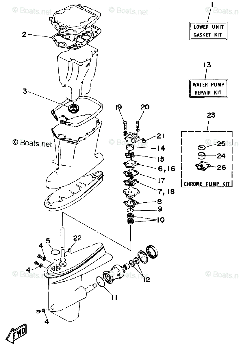 Yamaha Outboard Parts by HP 55HP OEM Parts Diagram for
