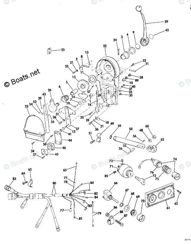 Evinrude Outboard Rigging Parts & Controls by Year 1975