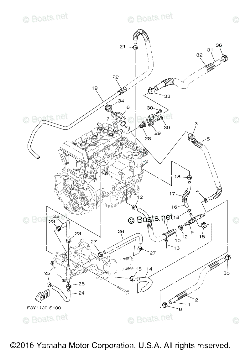 Yamaha Waverunner Parts 2017 OEM Parts Diagram for Exhaust