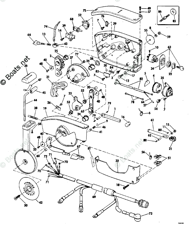 Evinrude Outboard Parts by HP 70HP OEM Parts Diagram for