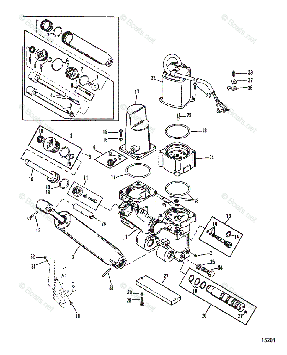 Mercury Outboard 1035312bc Power Trim Components Diagram And Parts