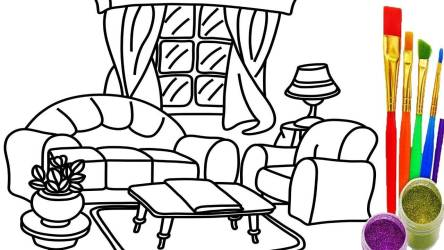 Draw Living Room Coloring Pages Drawing Learn Homes Decor