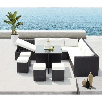salon de jardin encastrable gwandi 10 places resine tressee noir blanc