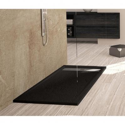 receveur en resine elite caniveau excentre 120 x 90 cm noir