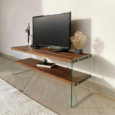 meuble tv 103 35 x 120 x 45 cm noyer verre