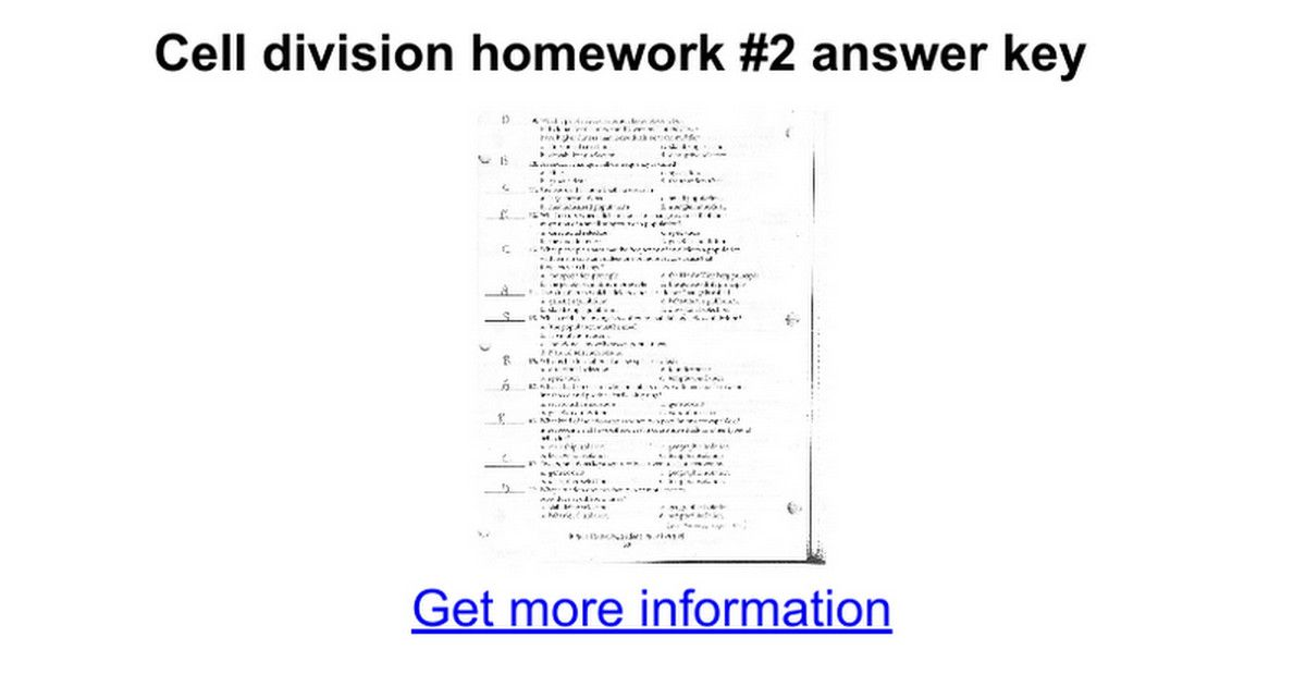 Chapter 10 Cell Growth and Division Worksheet Answer Key
