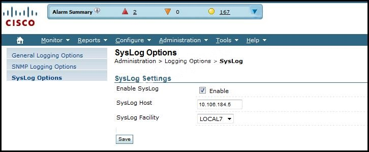 Q.72445: Which syslog facility option is shown?   Cisco