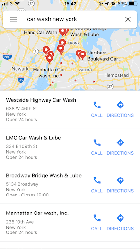 Google maps example showing car washes in a specific area