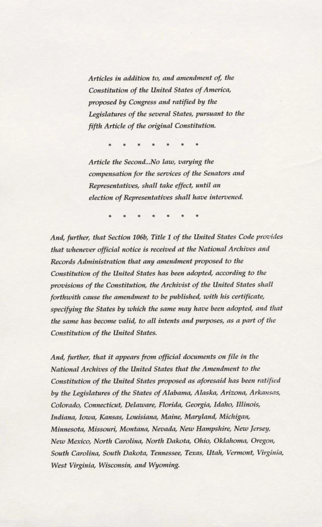 Twenty-seventh Amendment  United States Constitution  Britannica