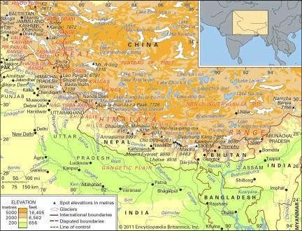 The Himalayan mountain ranges.