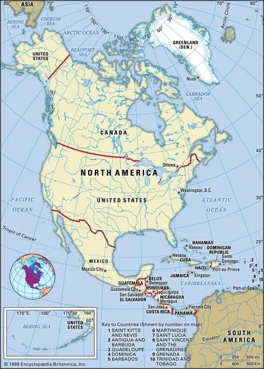 north america countries regions
