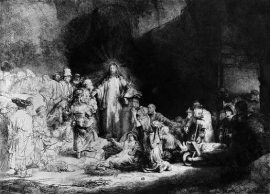 Rembrandt: Christ Healing the Sick (Hundred Guilder Print), detail of an etching showing the use of chiaroscuro, c. 1643–49.