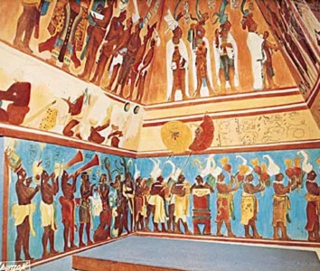 Mayan Fresco From Bonampak Original C  Ce Reconstruction By Antonio Tejeda