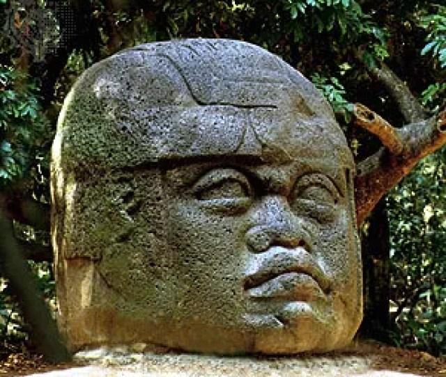 Olmec Colossal Basalt Head In The Museo De La Venta An Outdoor Museum Near Villahermosa