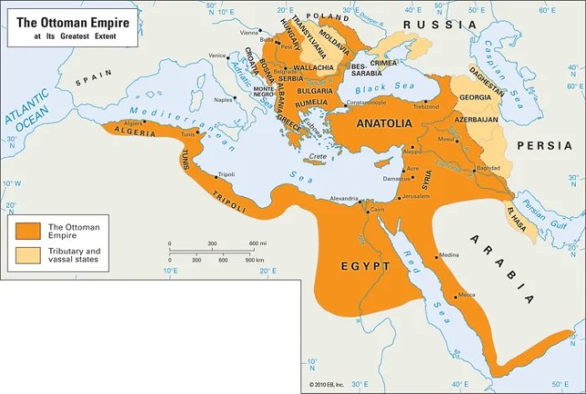 The Ottoman Empire at its greatest extent.