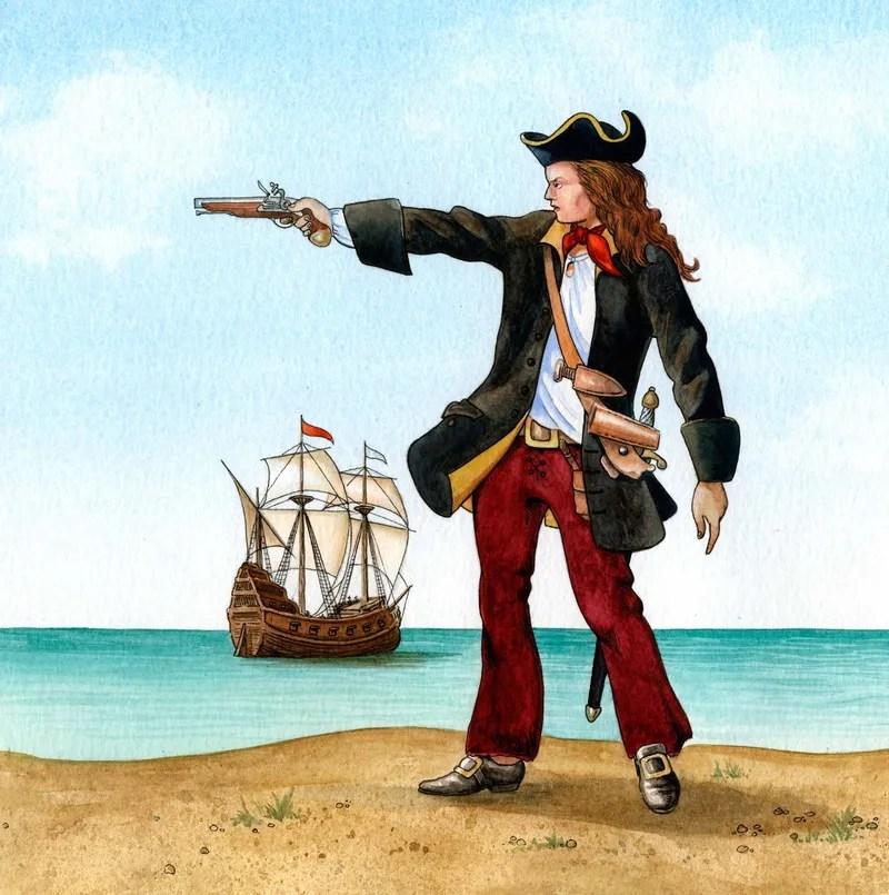 Anne Bonny. Irish American female pirate Anne Bonny (1698?-1782?). Nickname Anney Bonny. Born in Kinsale, Ireland and named Anne Cormac. Crop of source file Asset 177069 (IC Code piratp002).