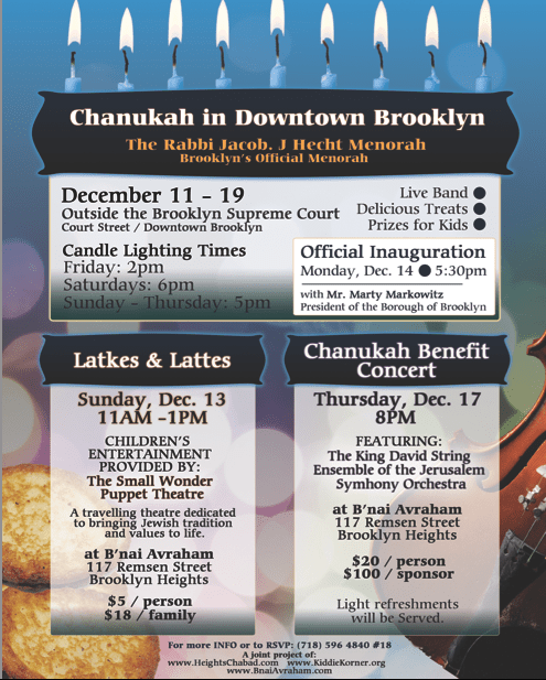 menorah lighting and other chanukah events brooklyn heights blog