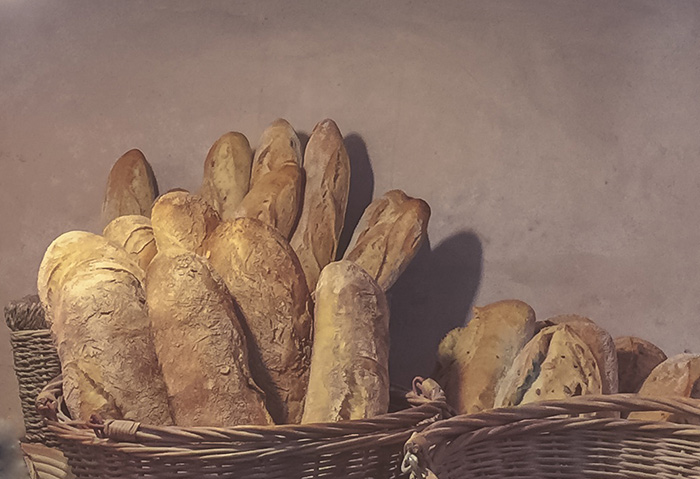 loaves of bread in baskets