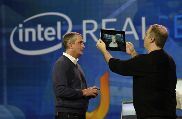 In this photo released by Intel Corporation, Brian Krzanich, Intel's Chief Executive Officer, shows how Intel is helping gamers personalize their experiences. Krzanich, who made this demonstration during his keynote presentation at the 2016 International CES (Consumer Electronics Show) on Tuesday, January 5, 2016 in Las Vegas, used a tablet enabled by Intel?s RealSense? Technology and Uraniom software to scan himself in 3D and then import the render to customize his in-game character in Fallout 4. CES is one of the world?s largest gathering places for all who thrive on consumer technologies and will run from January 5-9, 2016 in Las Vegas. (Photo by Intel Corporation/Bob Riha, Jr.)
