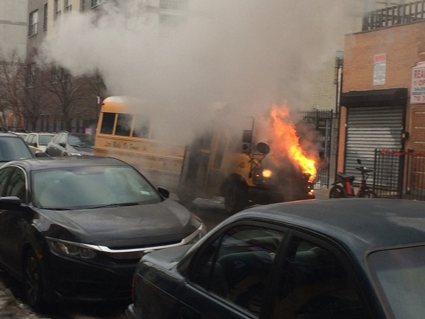 A Ridgewood School Bus Burst Into Flames Just After