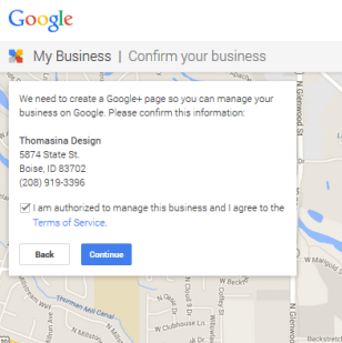 Confirm Business and set up Google+ Page