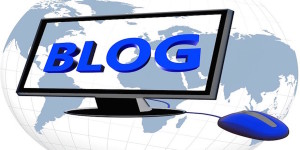 Image of computer with the word blog on its screen