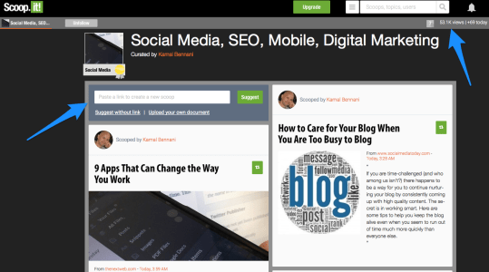 Scoop.it blog promotion example page