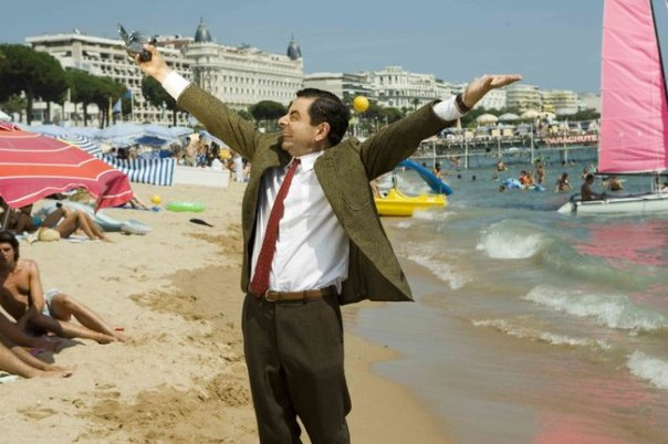 Mr Bean being happy on holidays.