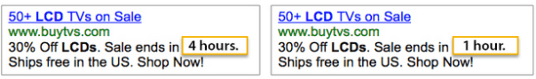 AdWords ad copy comparing ads
