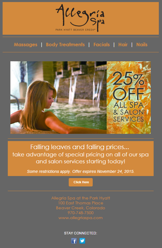 allegria spa email marketing image