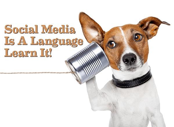 Bild på en hund som pratar i en konservburk med ett snöre. Bildtexten säger