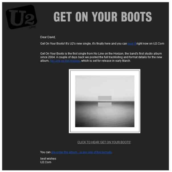Email Design - U2 email