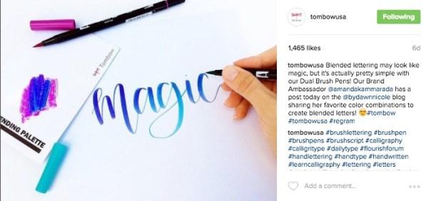 Tombow CTA in Instagram Post Description