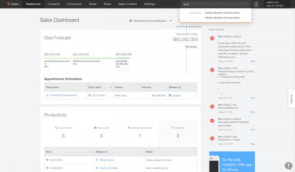 hubspot crm screenshot