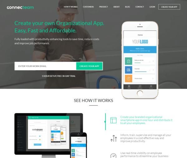 connecteam screenshot homepage