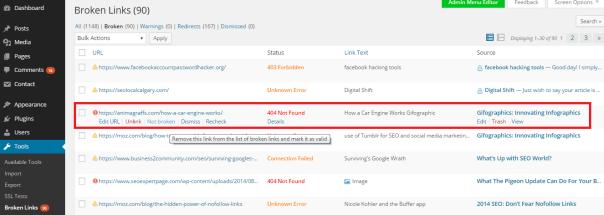 wordpress broken links remove