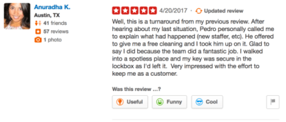 Updated review on Yelp
