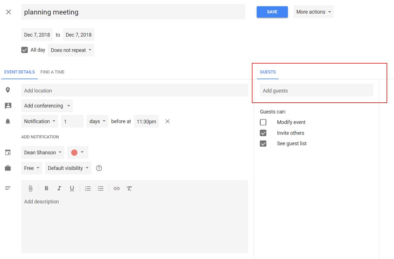 how to send a google calendar invite