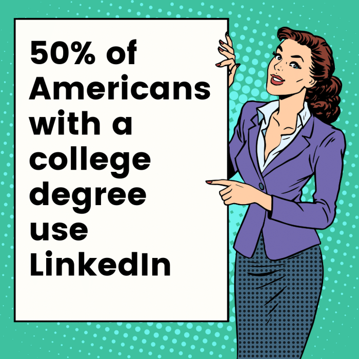 A cartoon woman pointing to a LinkedIn ad stat.