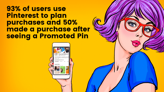 A cartoon woman holding a mobile phone with Pinterest up on it.