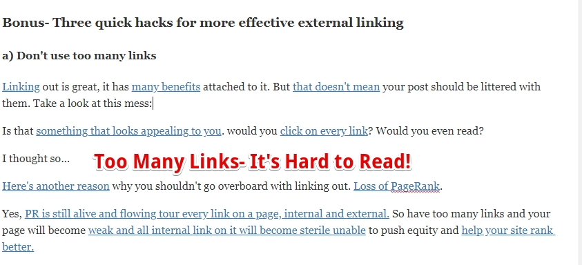 too many links make text hard to read