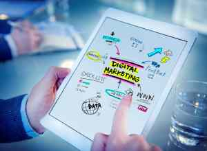 Note pad with Digital Marketing strategy.