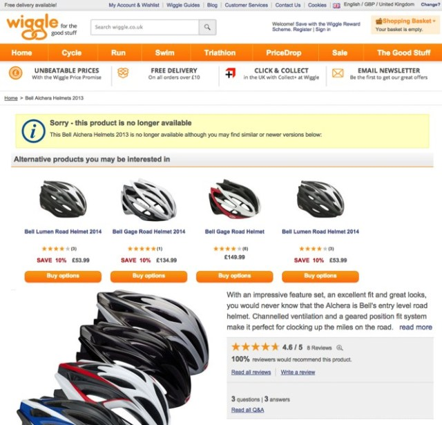 Good example of 404 page from Wiggle ecommerce site