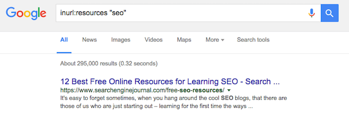 Resource Page Search Operator