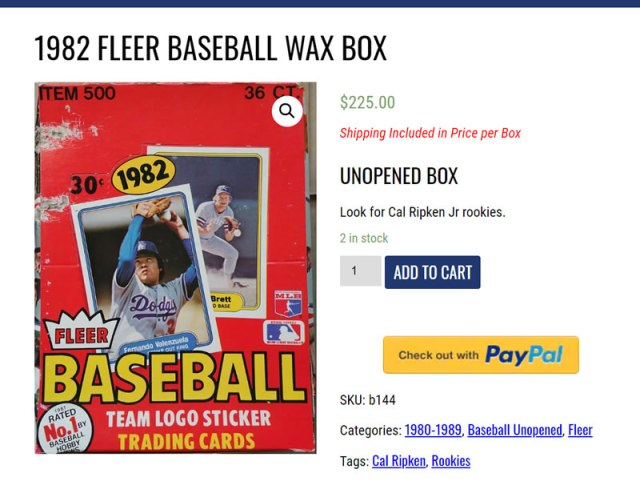 Ripping Vintage Packs uses PayPal to complete online transactions