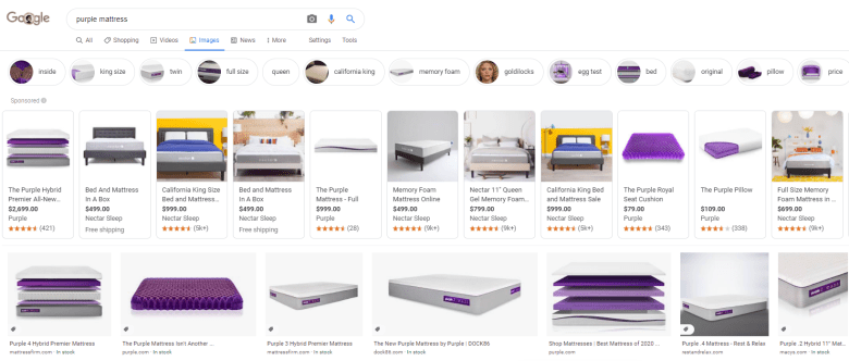 Example of Google Shopping ads appearing in Google Images