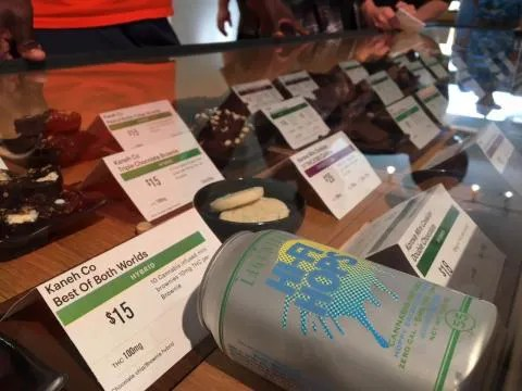 On a Friday afternoon, Oakland cannabis dispensary Harborside was packed. After waiting in line for roughly 30 minutes, we got a look at a display case where Hi-Fi Hops was featured beside some other edible cannabis treats.